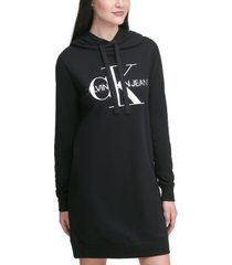 calvin klein jeans french terry logo hoodie dress