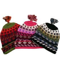 #1598 alpaca 100% hand knit geo thick beanie artisan 6 pack wholesale lot asstd