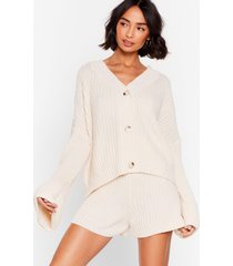 womens the lap of luxury chunky knit shorts lounge set - cream