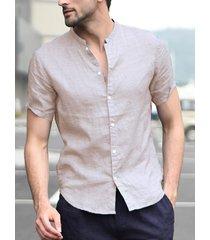 incerun algodón de cuello alto para hombre camisa