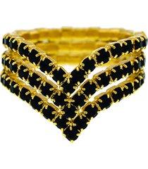 anel horus import pretotriplo banhado ouro amarelo 18 k - 1010100