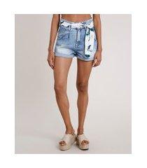 short jeans feminino clochard cintura super alta com faixa estampada floral azul claro