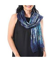 tie-dyed silk scarf, 'impressionist sea' (thailand)