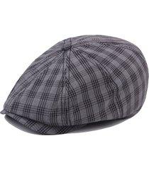 unisex casual vintage berretto ottagonale da pittore a riughe in cotone di stile britannico