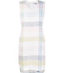 chanel pre-owned tweed shift dress - white