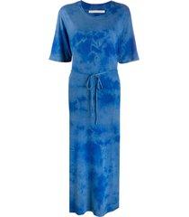 raquel allegra belted tie-dye print dress - blue