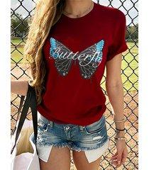 yoins camiseta con estampado de letras de mariposas cuello camiseta de manga corta