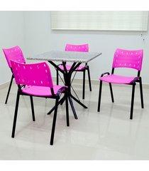 conjunto cozinha sevilha 0,75 com granito c/ 4 cadeiras isomix açomix