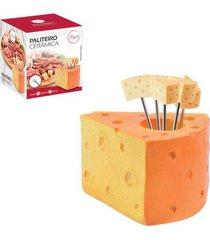 paliteiro cerâmico formato queijo com 5 garfinhos