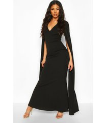 cape sleeve fishtail maxi dress, black