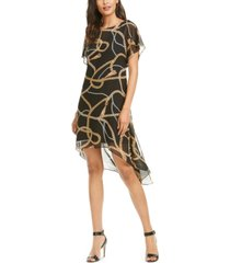adrianna papell chain print chiffon overlay dress