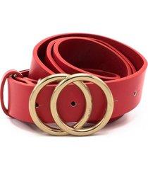 cinturon hebilla redonda rojo lorenzo di pontti