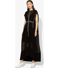 proenza schouler sheer mesh short sleeve cape dress black 4