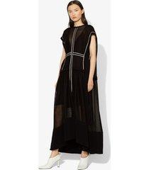 proenza schouler sheer mesh short sleeve cape dress black 2