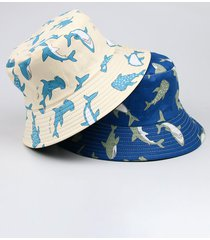 gorra de cubo con estampado de ballena informal para hombre