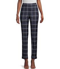 lafayette 148 new york women's clinton plaid cuff pants - french blue - size 6