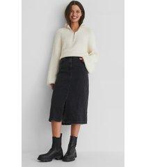 mango bay denim skirt - black