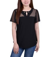 petite short flutter sleeve pullover top with mesh yoke and grommets