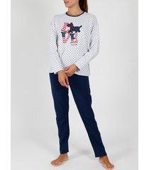 pyjama's / nachthemden admas pyjama broek top lange mouwen loulou love grijs