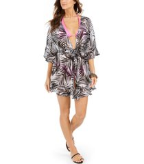 dotti paradise palms flutter-sleeve kimono cover-up women's swimsuit