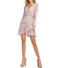 mac duggal iridescent ruffle tiered chiffon cocktail minidress, size 2 in rose at nordstrom