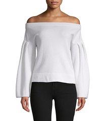 flared-sleeve cashmere blouse