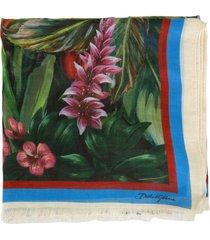 dolce & gabbana printed fringed edge scarf