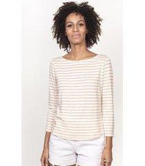 blusa cora básico 3/4 listrada linho feminina - feminino
