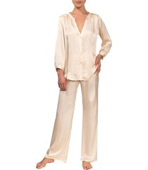 women's everyday ritual jamie pajamas, size x-small - beige