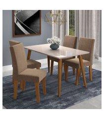 conjunto de mesa de jantar adele com vidro e 4 cadeiras milena suede off white e marrom