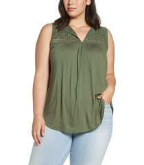 plus size women's loveappella crochet yoke swing tank top