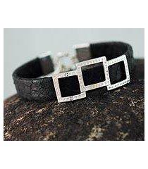 leather wristband bracelet, 'complex black' (peru)