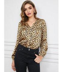 yoins blusa de manga larga con cuello de pico de leopardo