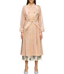 red valentino coat red valentino long trench coat in point desprit tulle