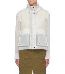 semi-translucent hooded vinyl rain jacket