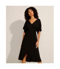 vestido acinturado de viscose midi manga ampla decote v preto