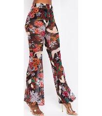 akira lets roll oriental printed mesh flare pants