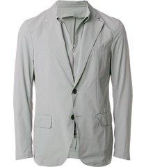 emporio armani overlay blazer - grey