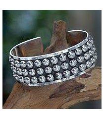 sterling silver cuff bracelet, 'linear power' (indonesia)