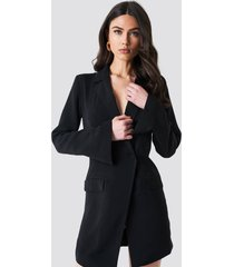 na-kd classic asymmetric blazer dress - black