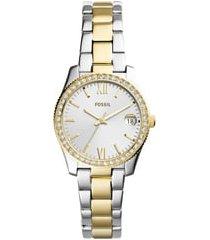 fossil scarlette crystal bracelet watch, 32mm in silver/gold at nordstrom