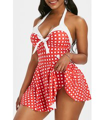 gingham halter bowknot backless skirted one-piece swimsuit