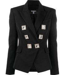 balmain crystal-embellished blazer - black