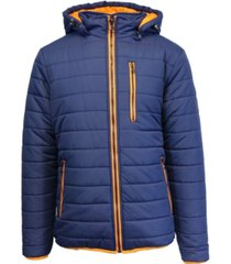 spire by galaxy men's puffer bubble jacket with contrast trim