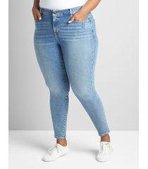 lane bryant women's curvy fit high-rise skinny jean- light wash 16 medium denim