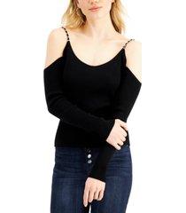 crave fame juniors' chain-strap cold-shoulder sweater