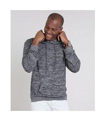 blusão masculino em tricô com bolso e capuz cinza mescla