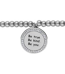 bracciale 'be true. be kind. be you.' in acciaio e strass per donna