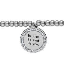 """bracciale """"be true. be kind. be you."""" in acciaio rodiato e strass per donna"""