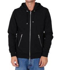 balmain printed hoodie black